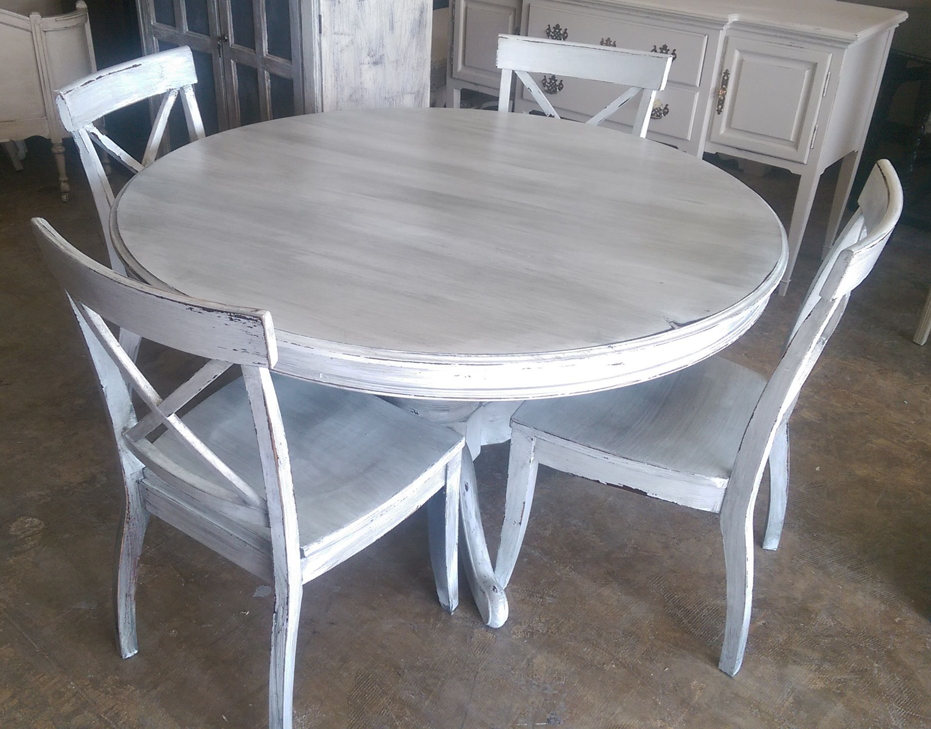 Here Is A 54 Round Table And Four Chairs I Painted It White With A Grey Wash Per Shabby Chic Kitchen Table Shabby Chic Dining Room Shabby Chic Dining Tables