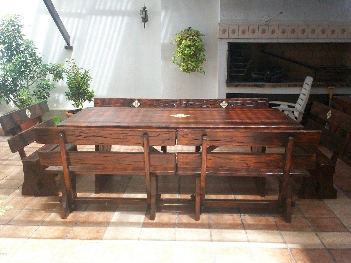 Juego de mesa con bancos para barbacoa jardines pinterest mesas bancos and mesa de barbacoa - Mesa para barbacoa ...