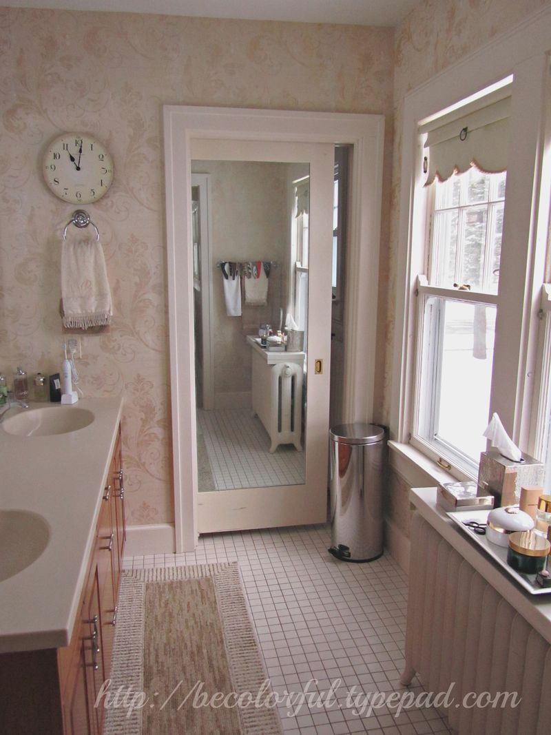 A Great Example Of Using Pocket Door With Mirror To Enlarge The Space Visually And Also Serve As Functional Side Room Toilet