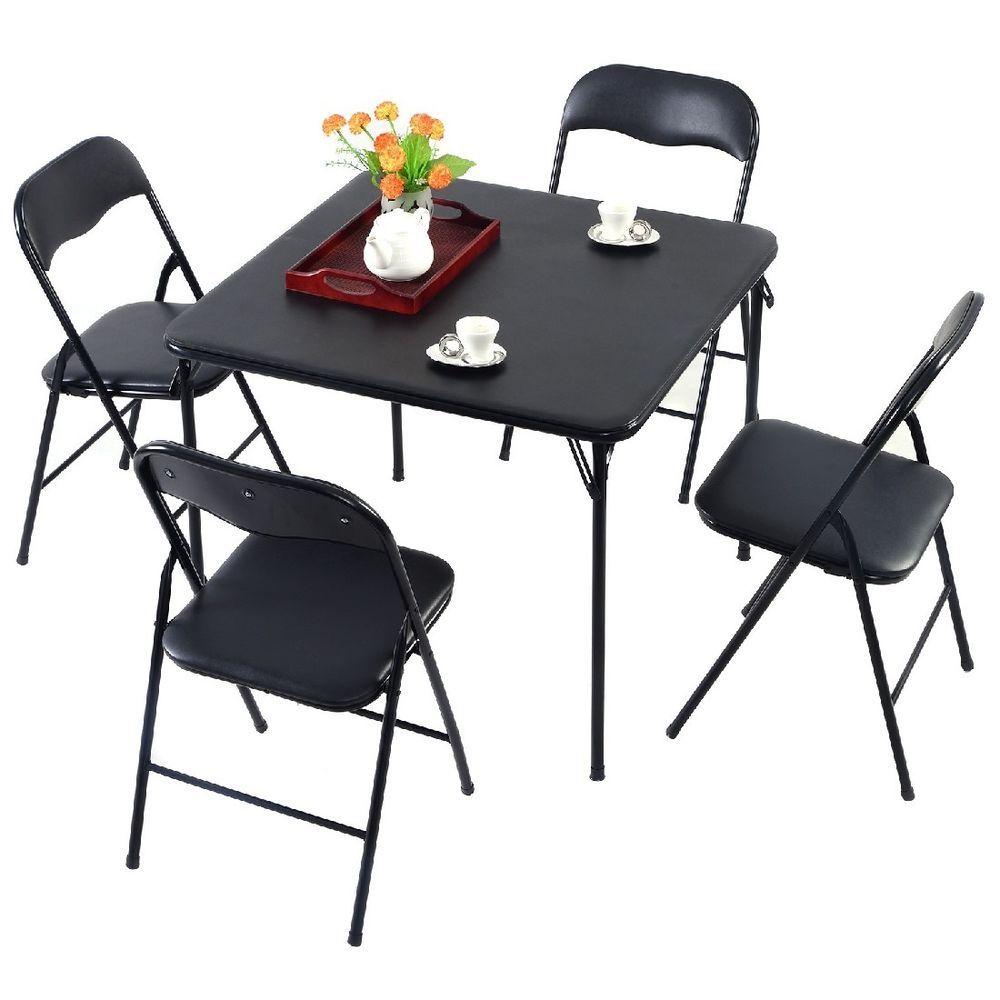 ess zimmer set schwarz klappbar tisch sitz gruppe 4 stühle küche ... - Esszimmerset