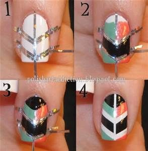 sometimes it is hard to do a professional look nail art so here is a simple cute nail art all u need to do is paint your nails white after drying of white coat stick tape on it like the given photo pain the rest of ur nail in colours and then remove the tape and release your masterpiece nail art they r simple easy and cute look for any outfit.... ;]