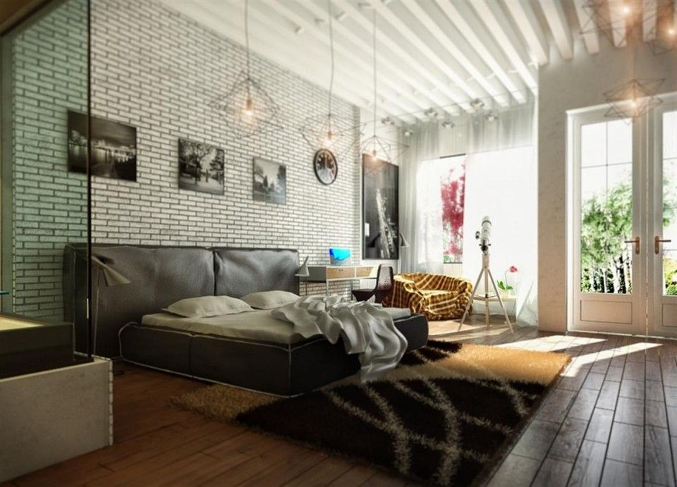 Modern-Bedrooms-Ideas-by-Koj-Design-Ecleteic-Brick-Wall-Texture-and-Black-Bed-Design-Plus-Area-Rug.jpg 960×691 pixels
