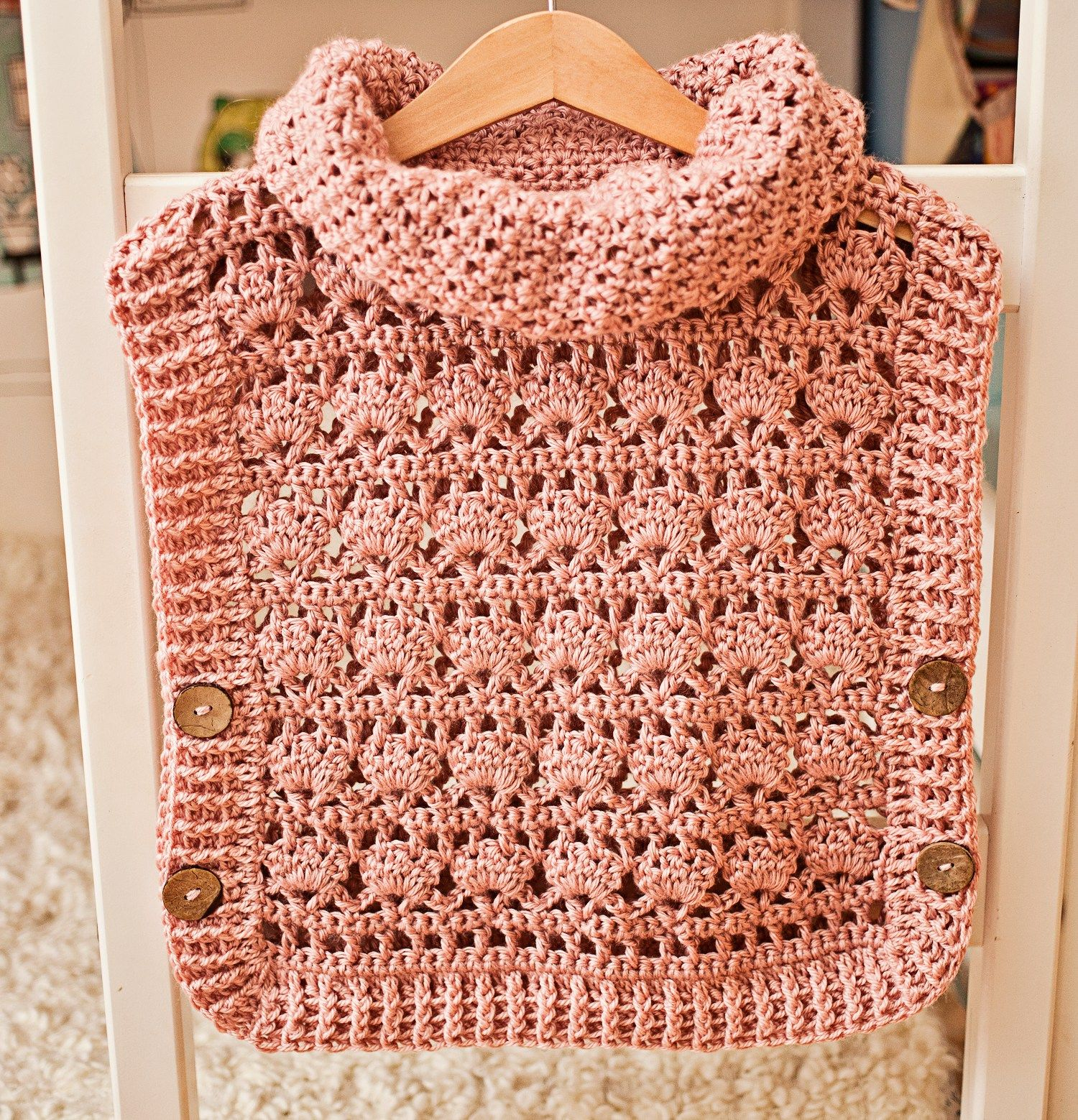 Rose Poncho - Pullover, crochet pattern by Mon Petit Violon www ...