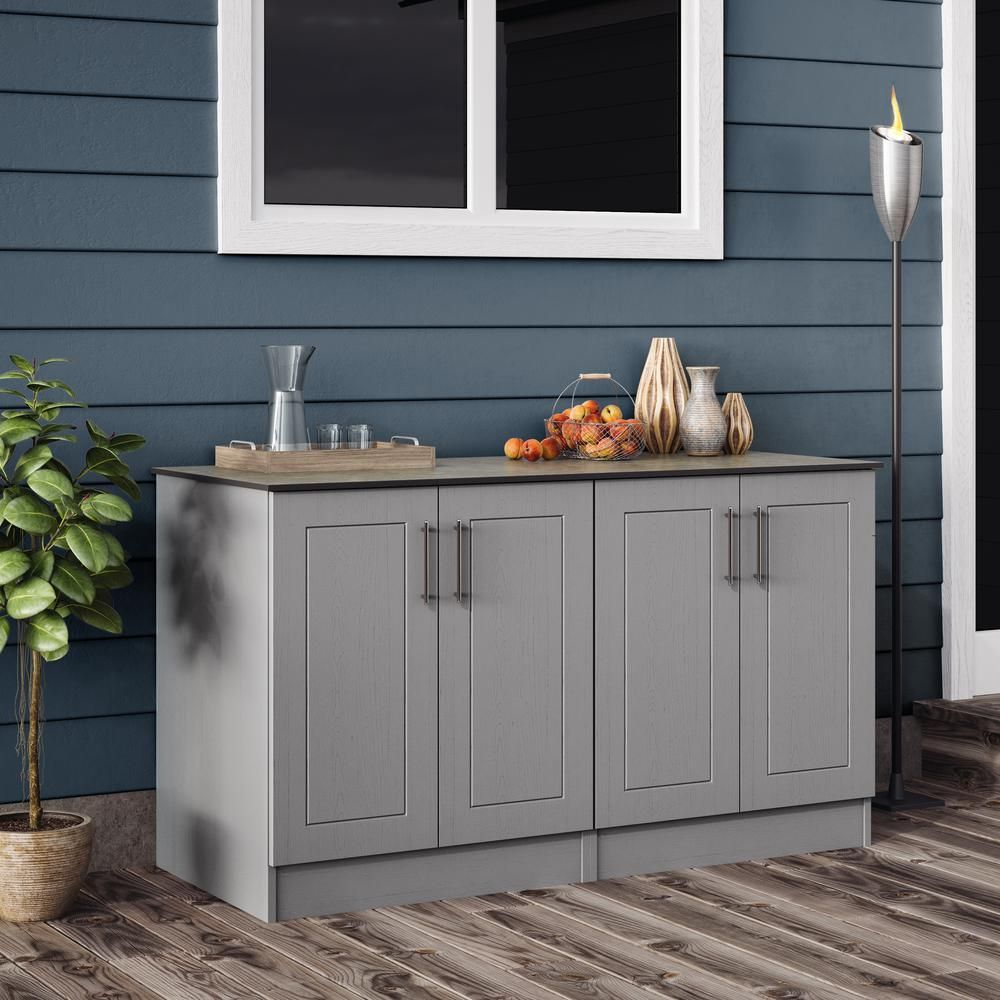 Weatherstrong Palm Beach Outdoor Cabinets With Countertop 4 Full Height Doors In Gray En000100 Prg The Home Depot