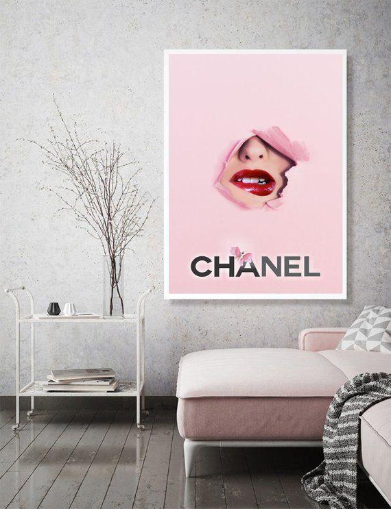 Chanel Lips Print Fashion Wall Art Pink Lips Print Fashion Wall Art Chanel Lip Chanel Room
