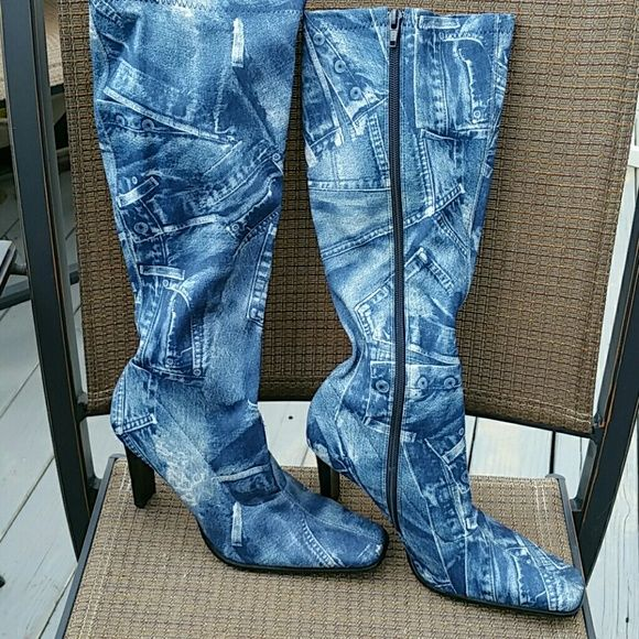 New Bakers Boss Denim Design Stretch boots NWOT Bakers Boss Denim Design boots. Stretch fabric, 4inch heel. Size 9 Bakers Shoes