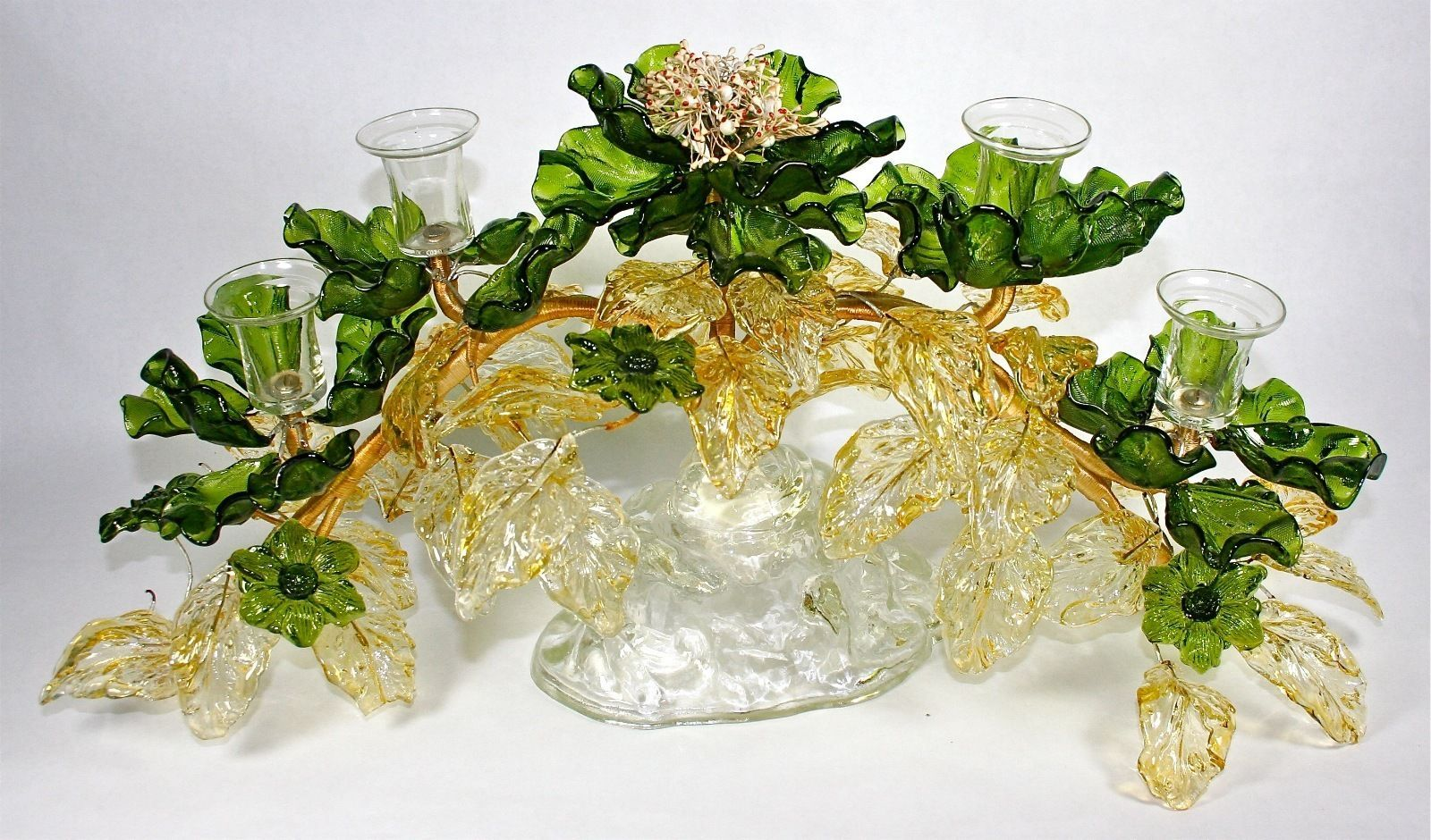 Huge Vintage Venetian Italian Murano Art Glass Flower Centerpiece Candle Holder Candleholder Centerpieces Glass Art Flower Centerpieces