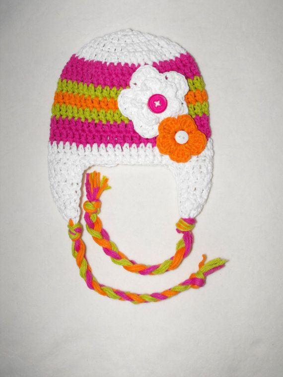 crochet baby hat Crochet earflap hat with by VioletandSassafras ...