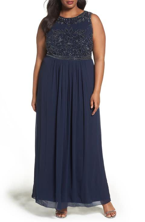 Adrianna Papell Beaded Chiffon A-Line Gown (Plus Size) | giyim ...