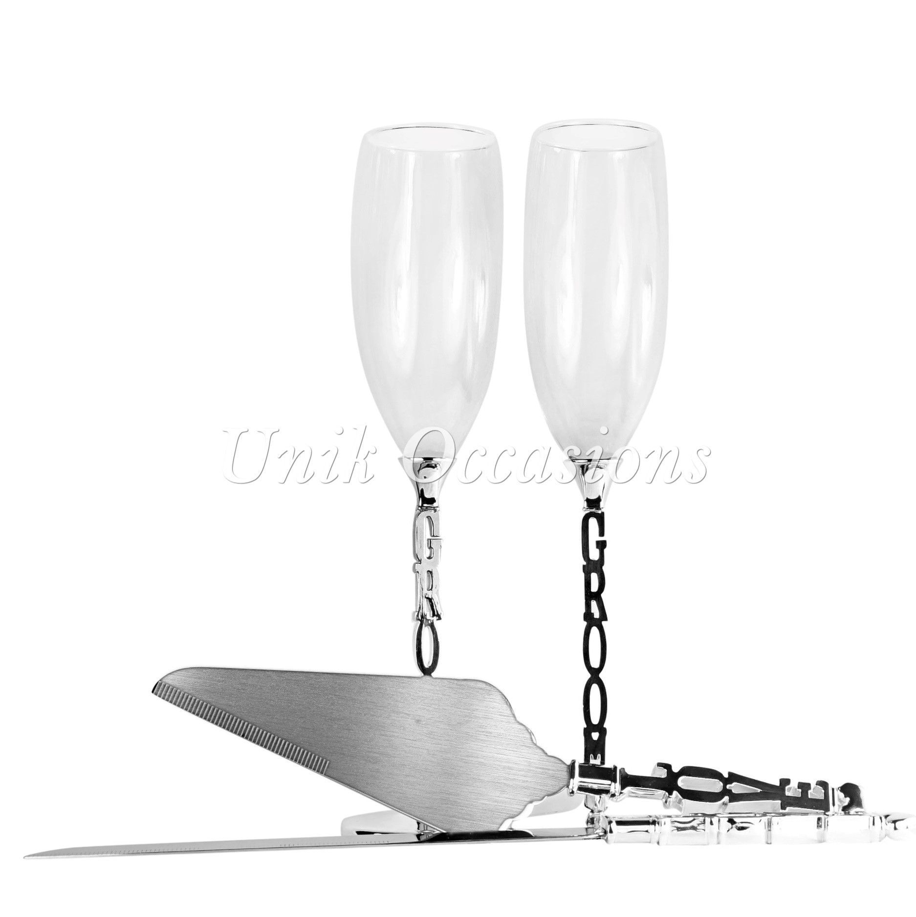 Unik Occasions Gay Toasting Glasses & Cake Serving Set - Two Grooms