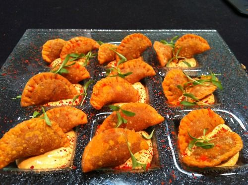 curried jamaican beef patties with smoked chili cream and