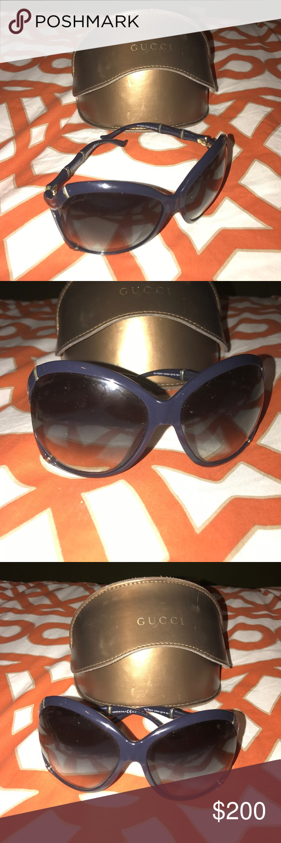 4e08a9cdeb0 Gucci Bamboo Shades Beautiful sleek and stylish Gucci Bamboo shades! Navy  Blue and Gold! Excellent Condition. Case included Gucci Accessories  Sunglasses