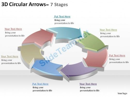 3d circular arrows process smartart 7 stages ppt slides diagrams, Modern powerpoint