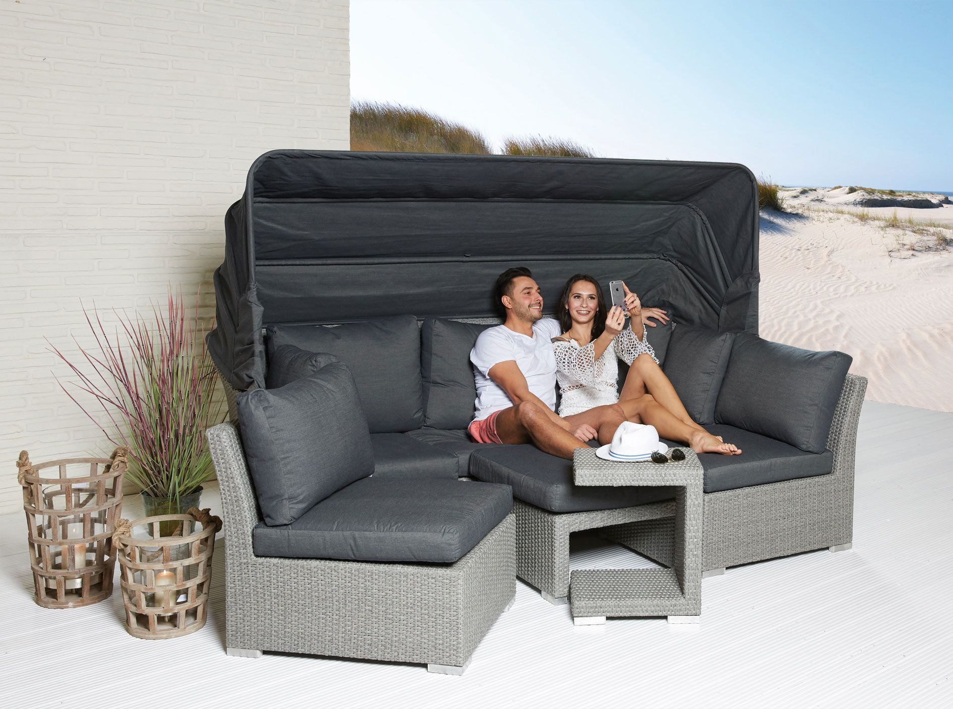 xl sonneninsel set 5 teilig strandkorb strandmuschel muschel set polyrattan grau strandmuschel. Black Bedroom Furniture Sets. Home Design Ideas