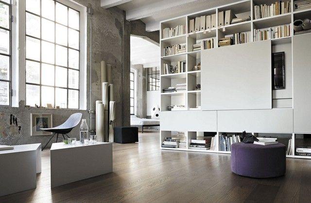 estanterias bajas suelo techo grande blanca moderna - Estanterias Bajas