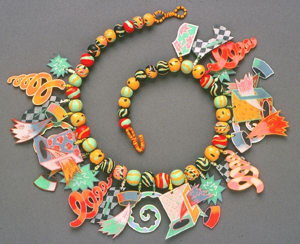 Artist Pier Voulkos, 1985, shrink & polymer necklace
