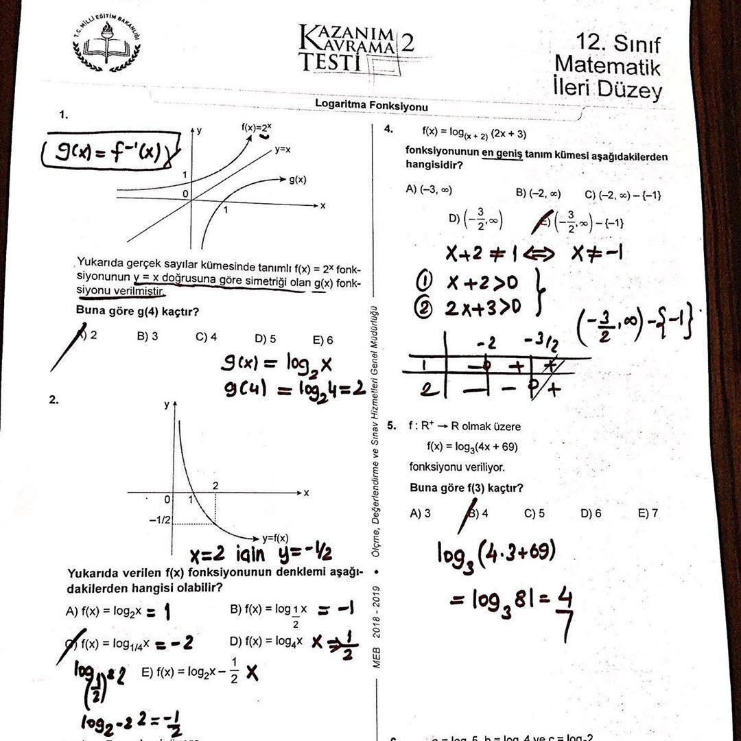 Logaritma Meb Kazanim Test Eme E Sayg