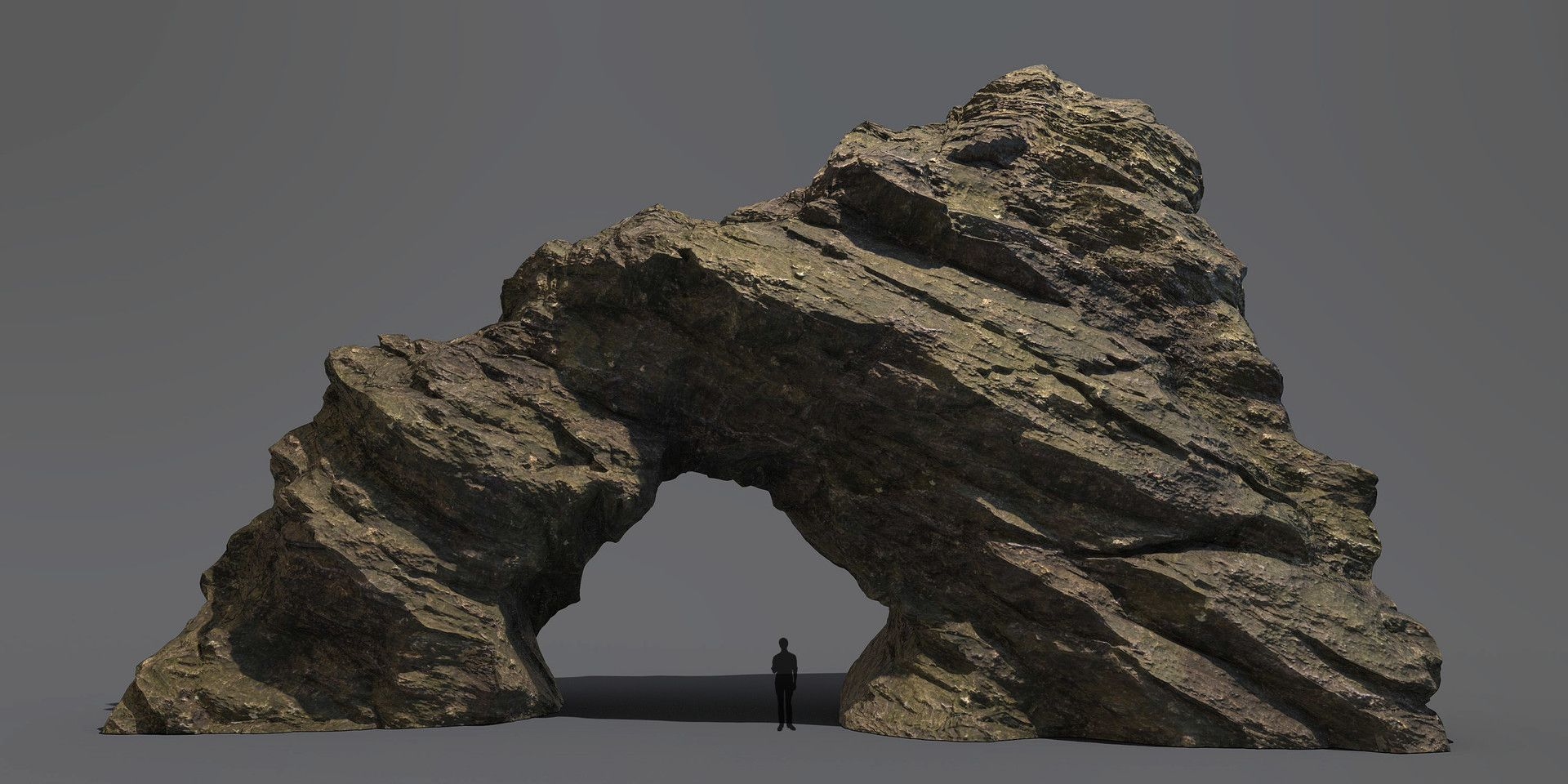 A rock arch sculpted in zbrush and textured in substance