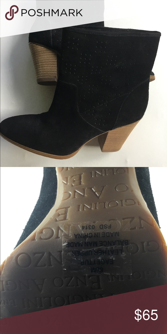 1599fd5d0 Enzo Angiolini Gettup Perforated Suede Booties Perforated suede black boots  size 8.5 Enzo Angiolini Shoes Ankle Boots   Booties