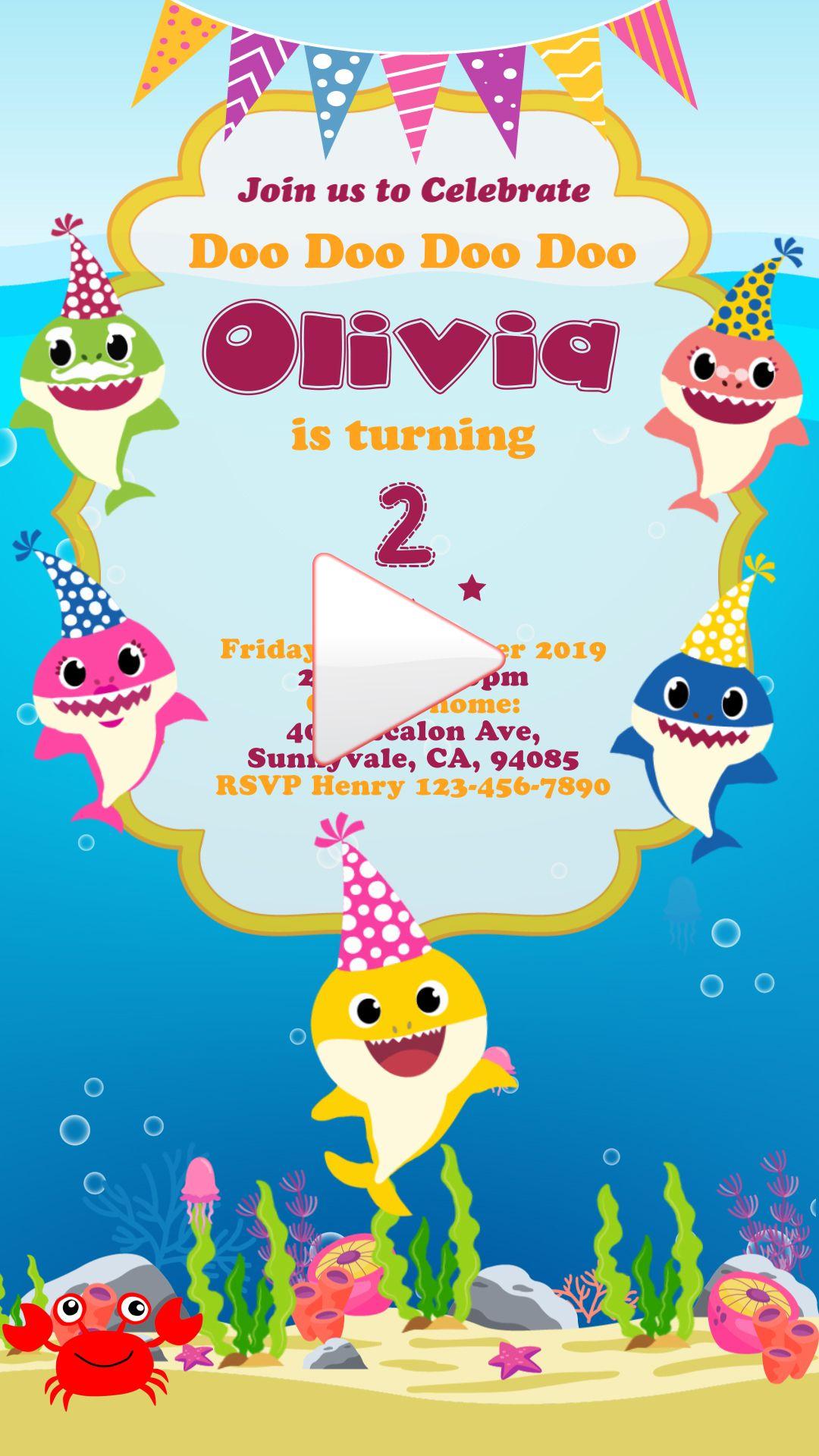 Baby Shark Video Invitation, Baby Shark Evites, Baby Shark