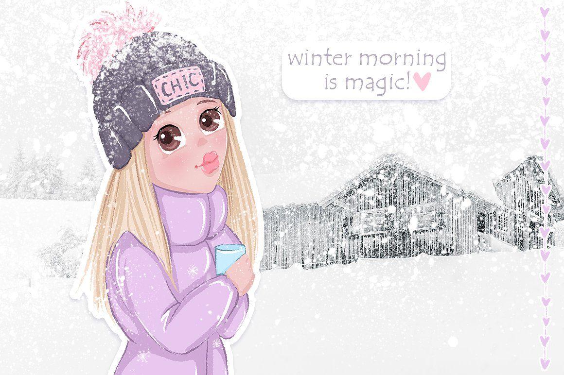 Cute girls winter llustrations by kvitka on creativemarket