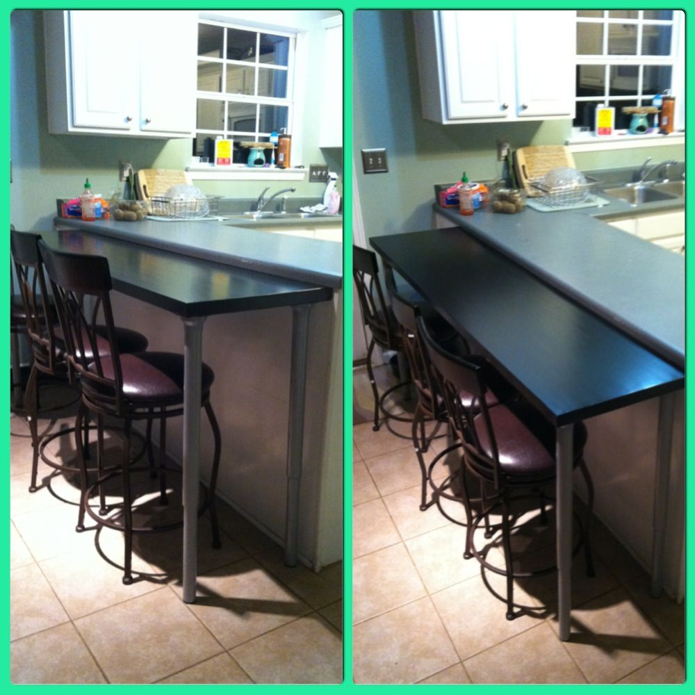 DIY Breakfast Bar. All I Did Was Bought A Butchers Block Counter Top And Adjustable Legs From