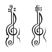 Guitarra Chelo Música Clave De Sol Musica Y Tatuaje Musica