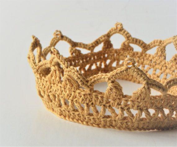 Golden crown crochet baby crown mustard crown hair accessories baby ...