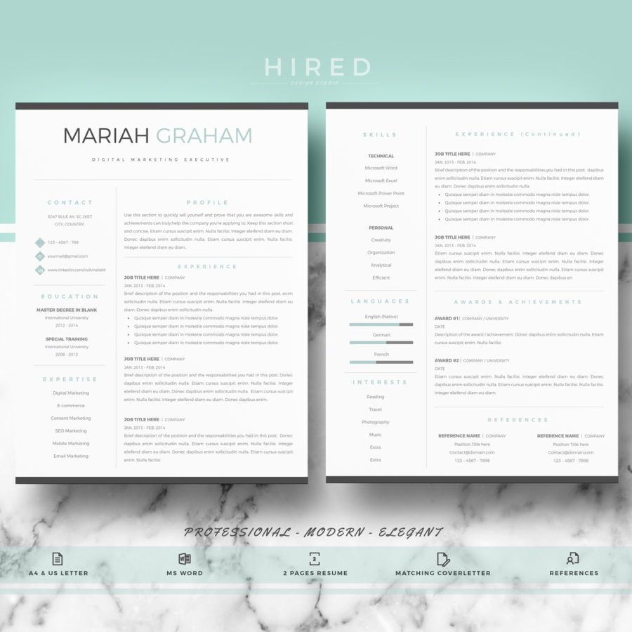 Professional  Modern Resume Template For Ms Word Mariah