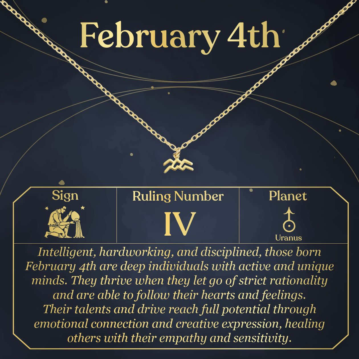 February 4th Necklace Present For Birthday Celebration Gift For Her Aquarius Aquarius Necklace Pisces Necklace Aries Necklace