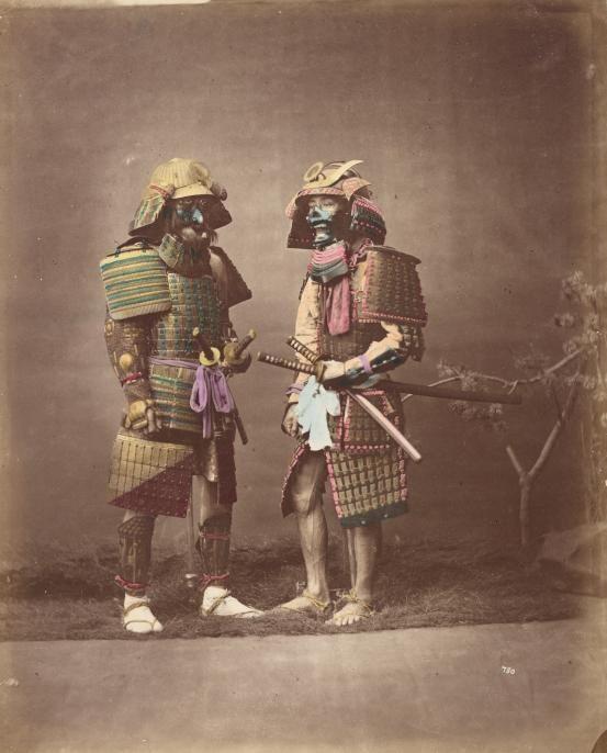 Japanese Samurai Warriors in Armour ~ ca1875 Baron Raimund von Stillfried, albumen silver photograph, colour dyes