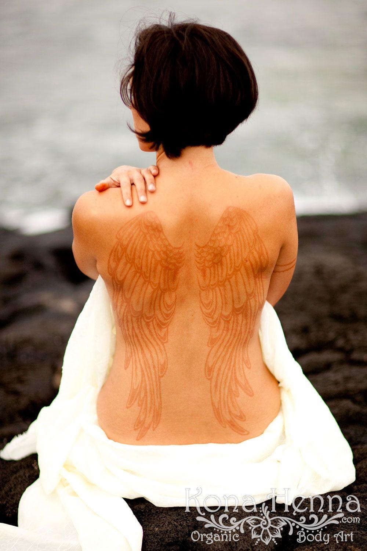 Henna Back Tattoo Drawing: Kona Henna Studio - Henna Angel Wings