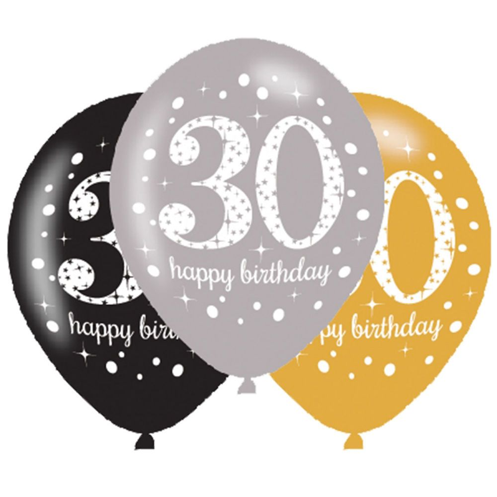 2.99 GBP - 6 X 30Th Birthday Balloons Black Silver Gold Party ...
