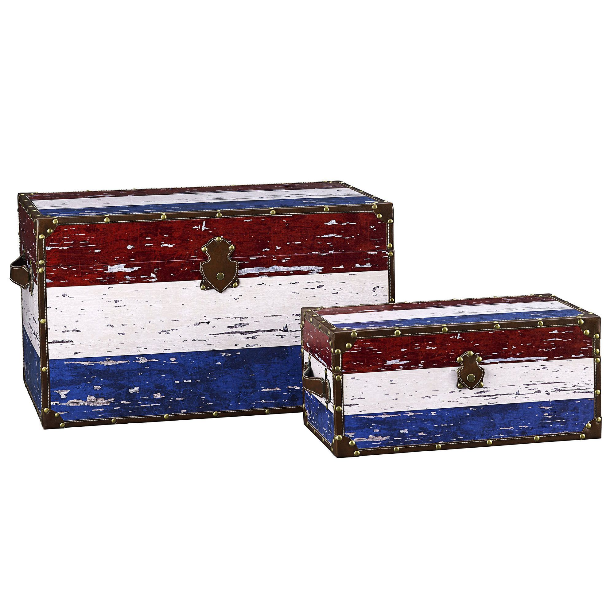 Storage Trunk Chest Vintage Wooden Decorative Steamer Antique Footlocker Table At Harvey Haley For Only 196 32