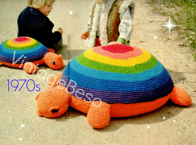 Vintage 1970s Stuffed Crochet Turtle Hand Made Turtle Toy Crochet Stuffed Turtle Stuffed Animal Turtle Vintage Toys Stuffed Animal