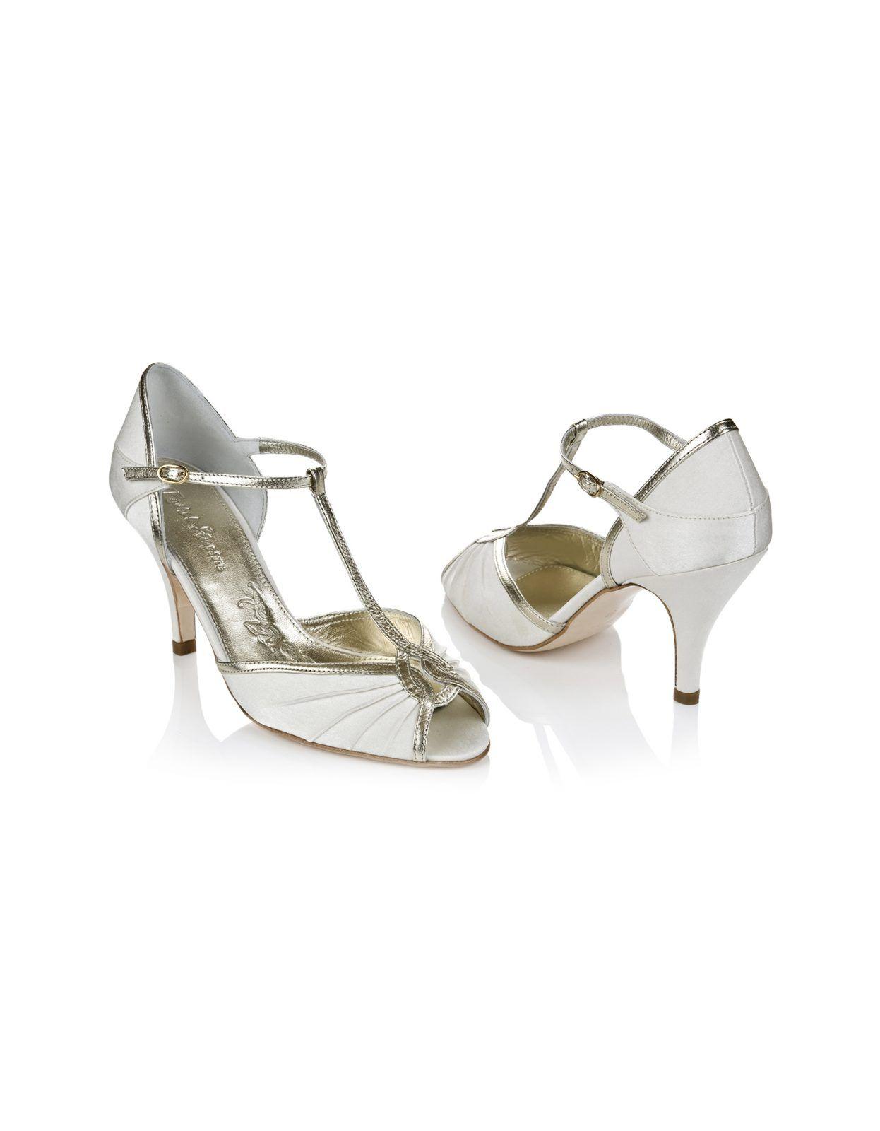Mimi Ivory Satin T Bar Wedding Shoes Rachel Simpson