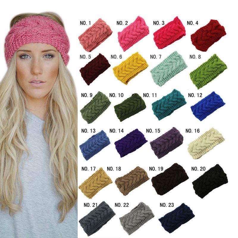 Knitted Turban Headbands Winter Warm Crochet Head Wrap Wide Ear ...
