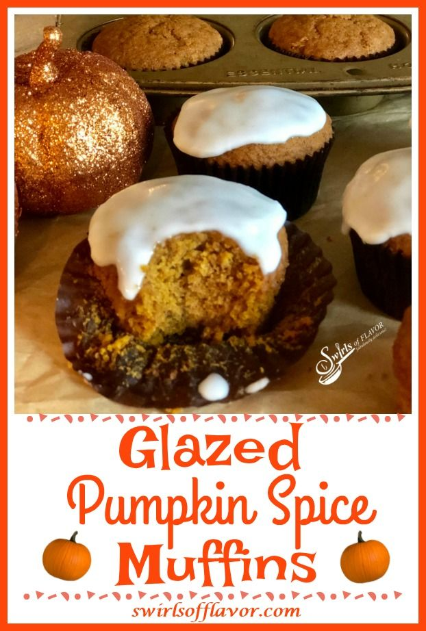 Glazed Pumpkin Spice Muffins - Swirls of Flavor