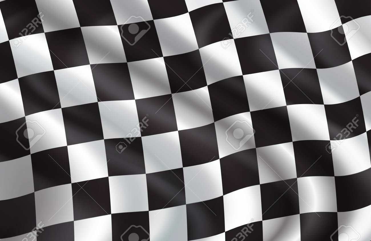 Checkered Flag Pattern Of Car Racing Vector 3d Background Of White And Black Squares On Waving Flag For Rally Sport Checkered Flag Checkered Checkered Pattern