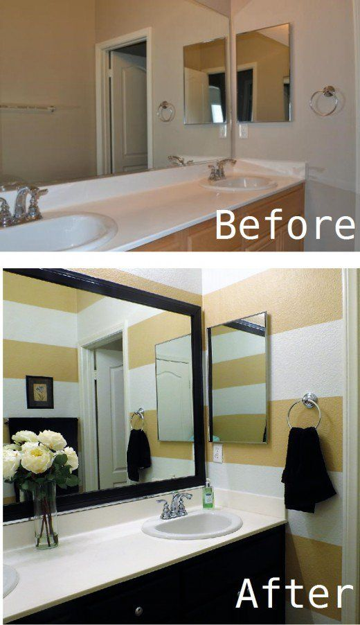 Diy bathroom makeover striped walls framed mirror how to - Diy bathroom remodel before and after ...