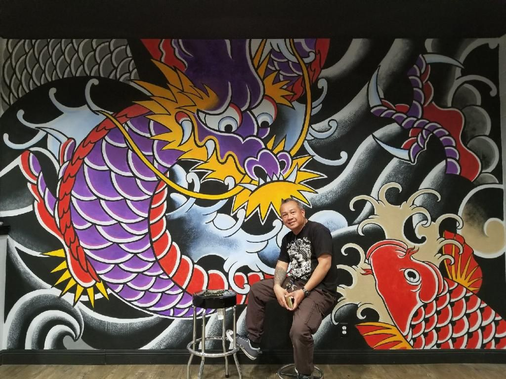 Painting on The Wall At Las Ink Tattoo shop Las Vegas