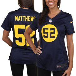 43fb52f3 Nike Clay Matthews Green Bay Packers Women's Navy Blue Throwback ...