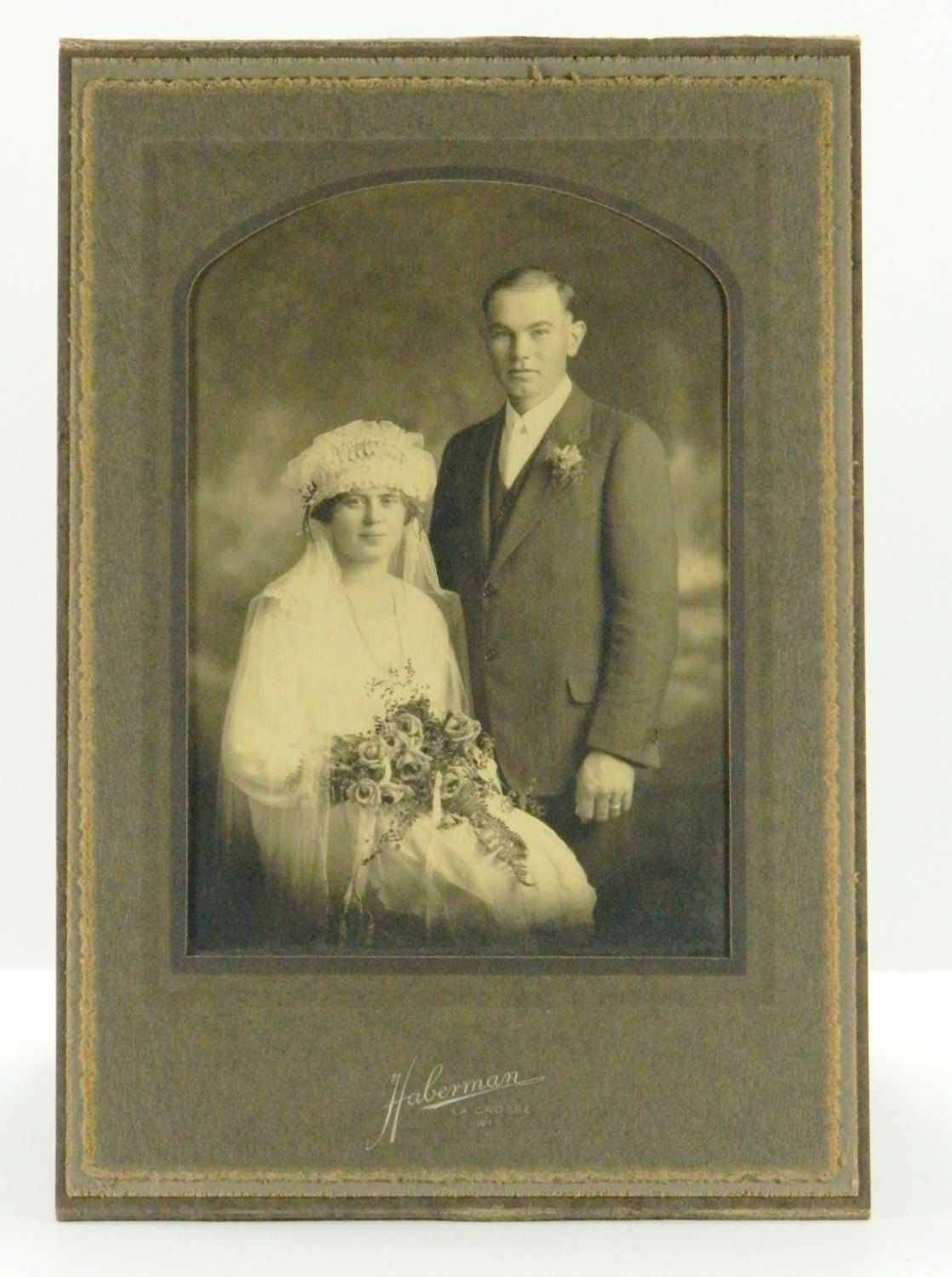 Antique wedding photograph early 1900s bride with