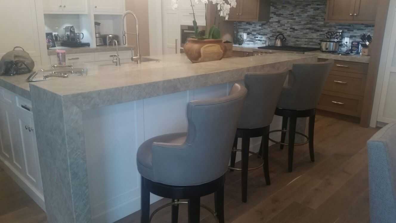 4 Thick Waterfall Countertop With Island Seating Designed By Jon