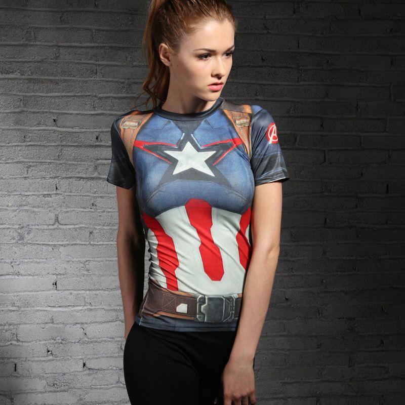 Chaude femmes t shirt bodys armure marvel captain america superman compression t shirt fille - Captain america fille ...