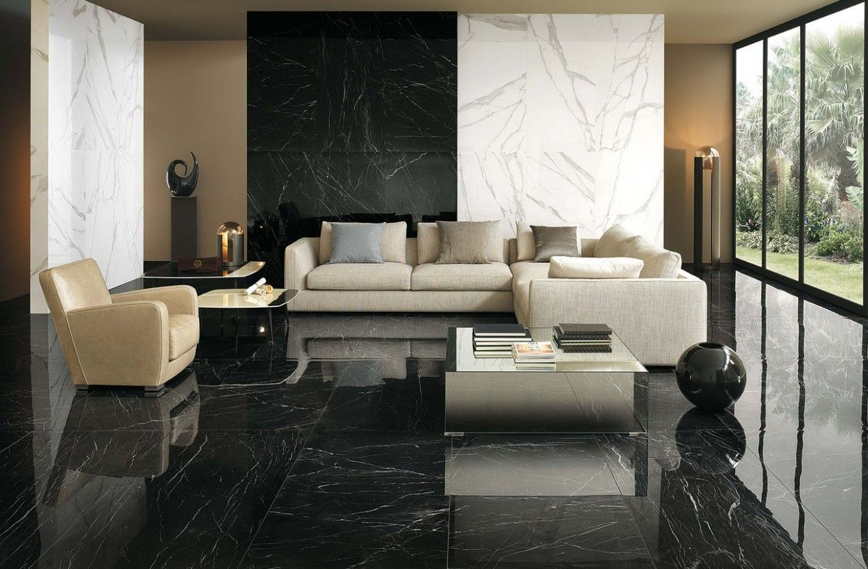 The Truth About Black Tile Flooring Modern Living Room Is About To Be Revealed Living Room Styles Marble Living Room Floor Black Floor Tiles