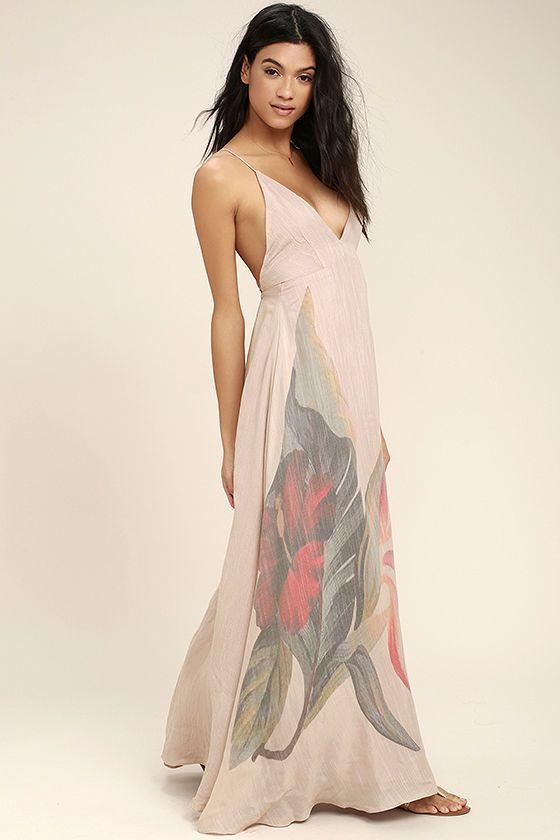 Island Delight Blush Pink Floral Print Maxi Dress Wedding Attire