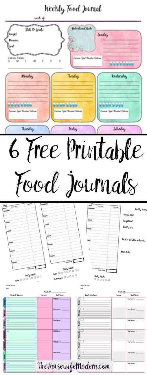 free printable food journals  6 different designs
