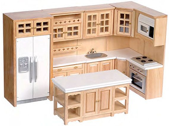 1 12 Scale Premium Kitchen Collection White Oak Walnut Marble Etsy Modern Oak Kitchen Interior Design Kitchen Small Kitchen Remodel Small