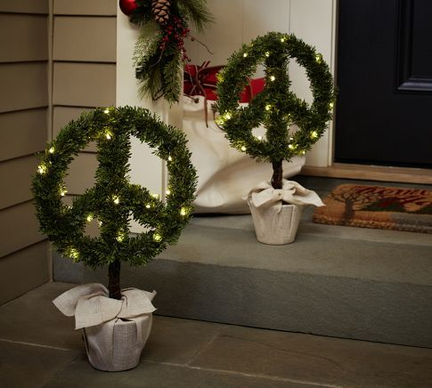 christmas boxwood peace topiary pottery barn christmas decorating ideas for outdoor settings - Pottery Barn Outdoor Christmas Decorations